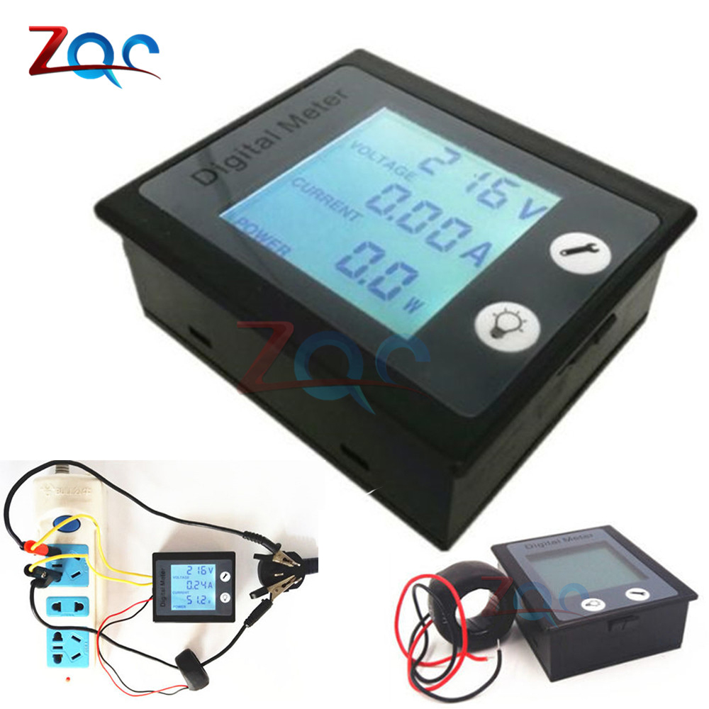 AC 80-260V 100A AC LCD Digital Ammeter Voltmeter Wattmeter Power Energy Voltage Current Meter Gauge STN LCD Backlight 110V 220V