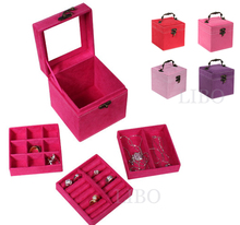 2016 Cosmetic Bags organizor Maleta De Maquiagem Necessaries Make Up Cosmetic Jewelry Box Case & Red,pink,purple,rose