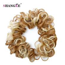 SHANGKE Long Synthetic Hair Bun Curly Hair Extension Headband Hair Donut Roller Hairband High Temperature Fiber(China)
