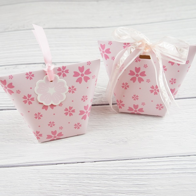 10pcs light pink sakura Cherry Blossom Paper Box Candy Storage Boxes Gift Packaging wedding birthday party favor box multi-use