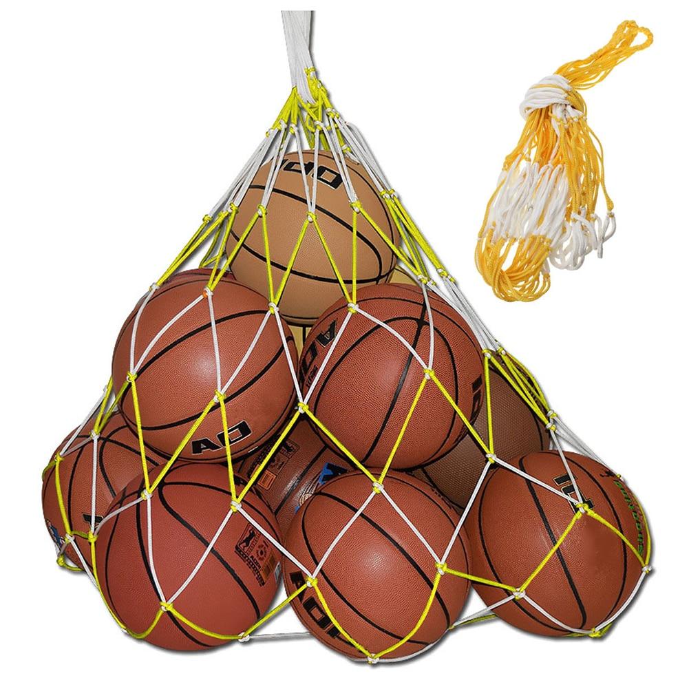 LGFM-1 Pcs 10 Balls Sport Basketball Soccer Nylon Carry Mesh Bag 115cm