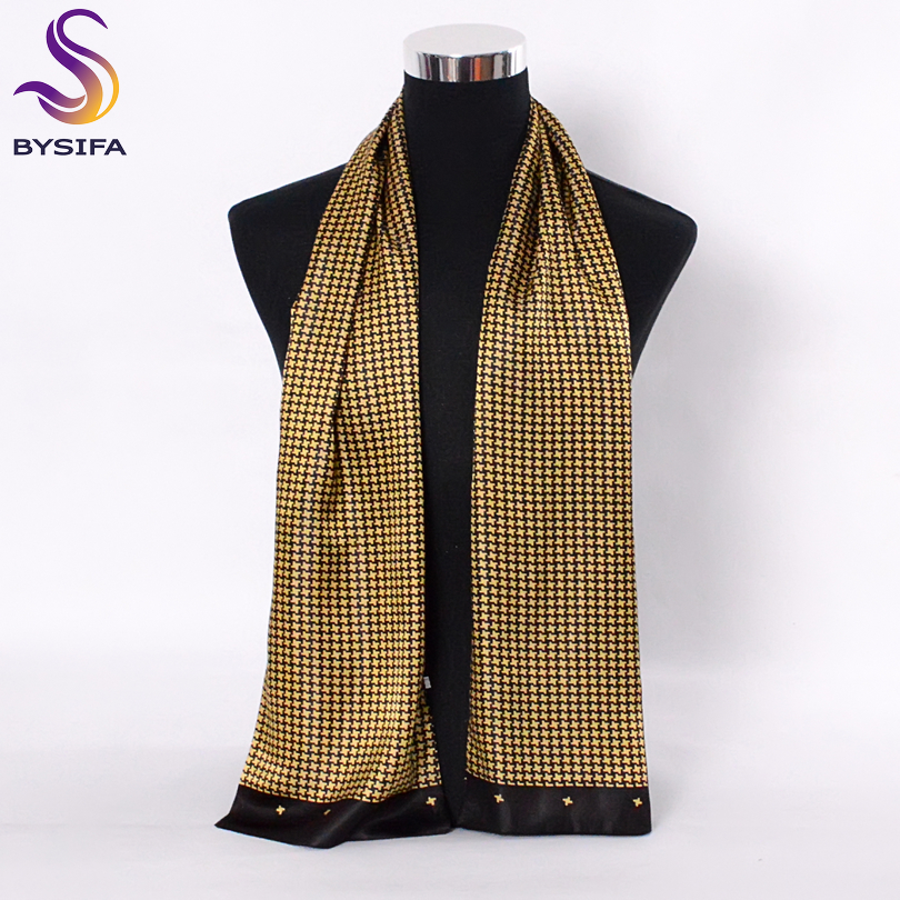 [BYSIFA] Män Black Gold Silk Scarves Vinter Mode Accessoarer 100% Natural Silk Male Plaid Lång Scarves Cravat 160 * 26cm