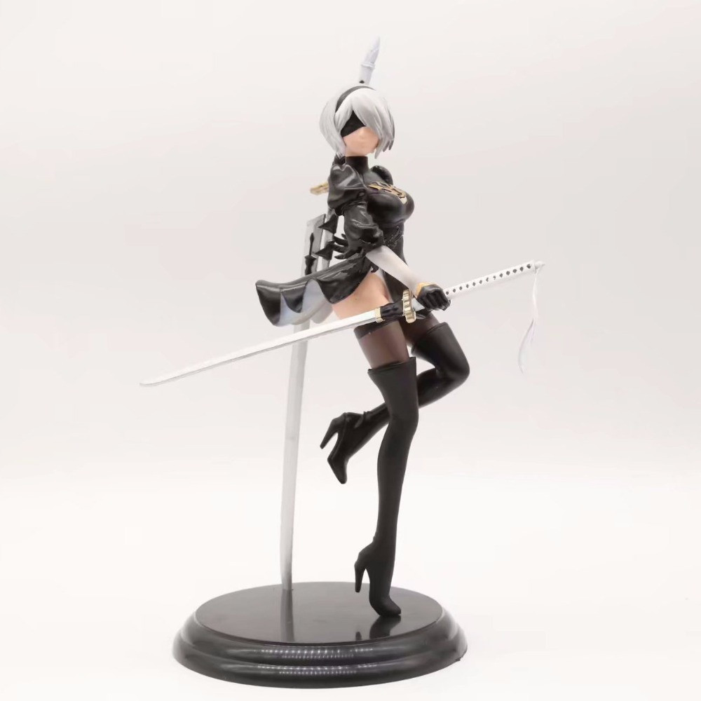 Free Shipping 10 NieR: Automata Game YoRHa No. 2 Type B Stand Ver. Boxed 25cm PVC Action Figure Collection Model Doll Toy Gift free shipping 8 dragon ball z anime android no 18 stand ver boxed 19cm pvc action figure collection model doll toy gift