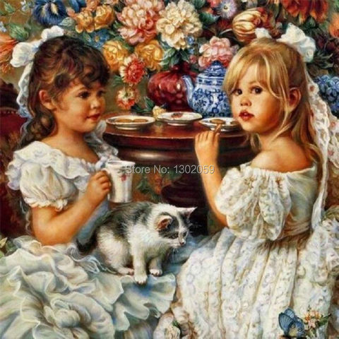 High Quality Avilable Embroidery Cross Stitch Kit Princess Afternoon Tea Oil Painting 18CT/16CT/14CT/11CT/9CT Pakistan