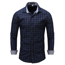 Fashion Plaid Long Sleeve Shirt Men Blue and Black 2019 New Casual Shirts Single Breasted Ropa De Hombre Tops