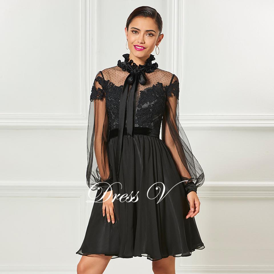 ea6dcfdd6e6e3 Dressv black high neck elegant cocktail dress long sleeves appliques knee  length wedding party dress chiffon cocktail dresses