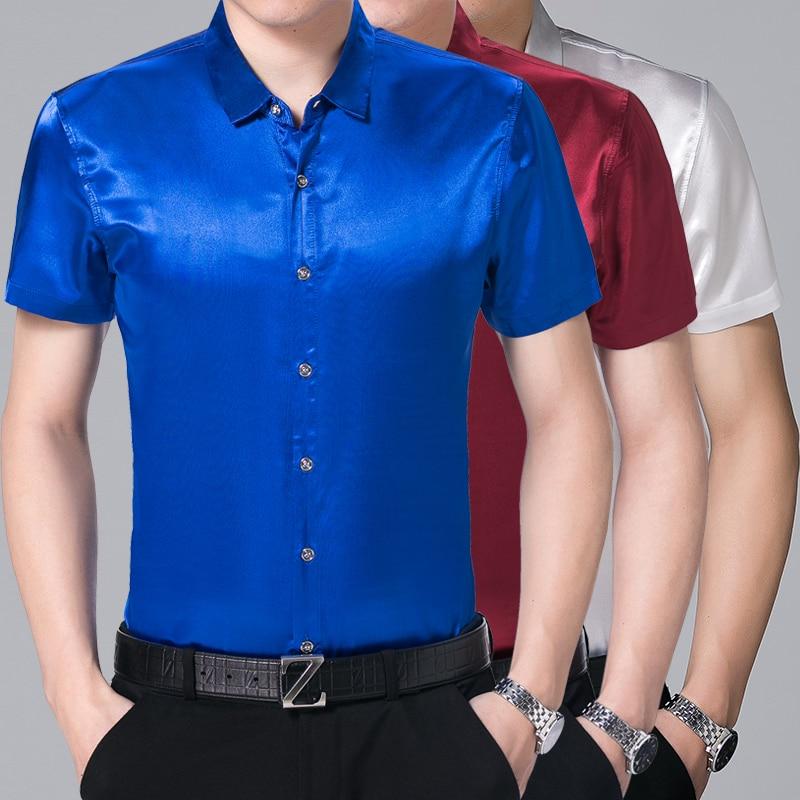 Men Casual Silk Short Sleeve Dress Shirt