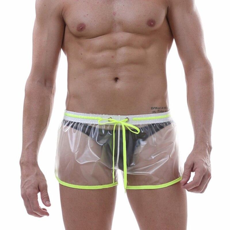 Summer Men Swimwear Trunks Swimsuit Transparent Beach Shorts Male Sexy Waterproof Board Shorts Boxers Bathing Suit Homme Cueca