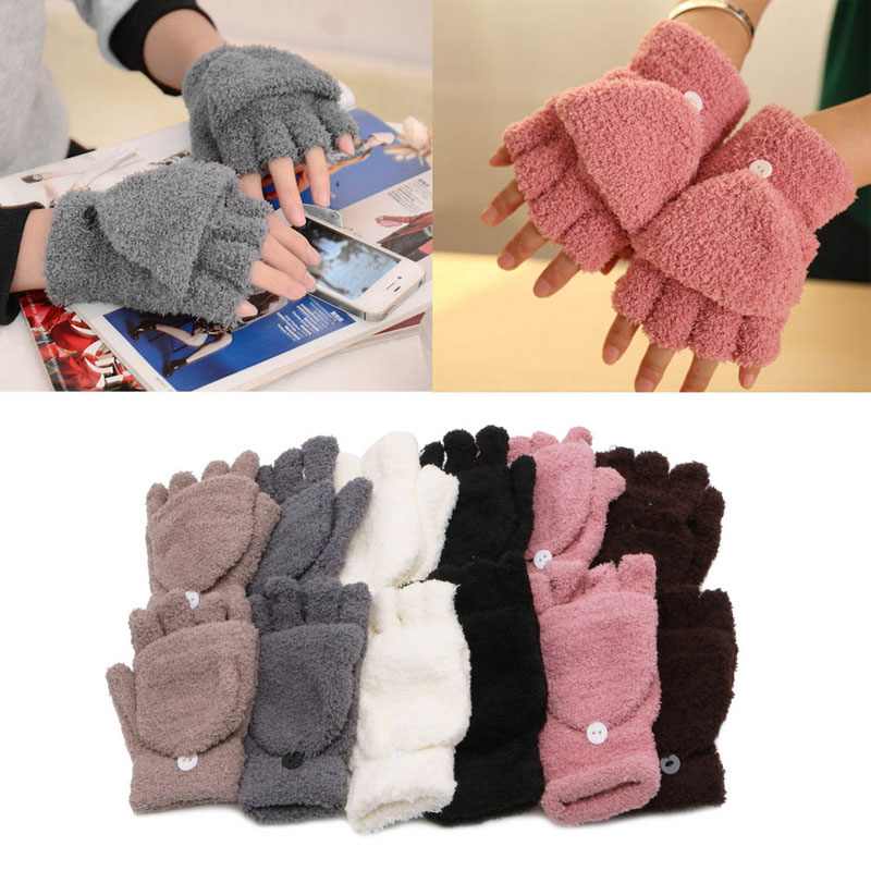 Coral Cashmere Knitted Grey Fingerless Winter Gloves Soft Warm Mittens Gloves