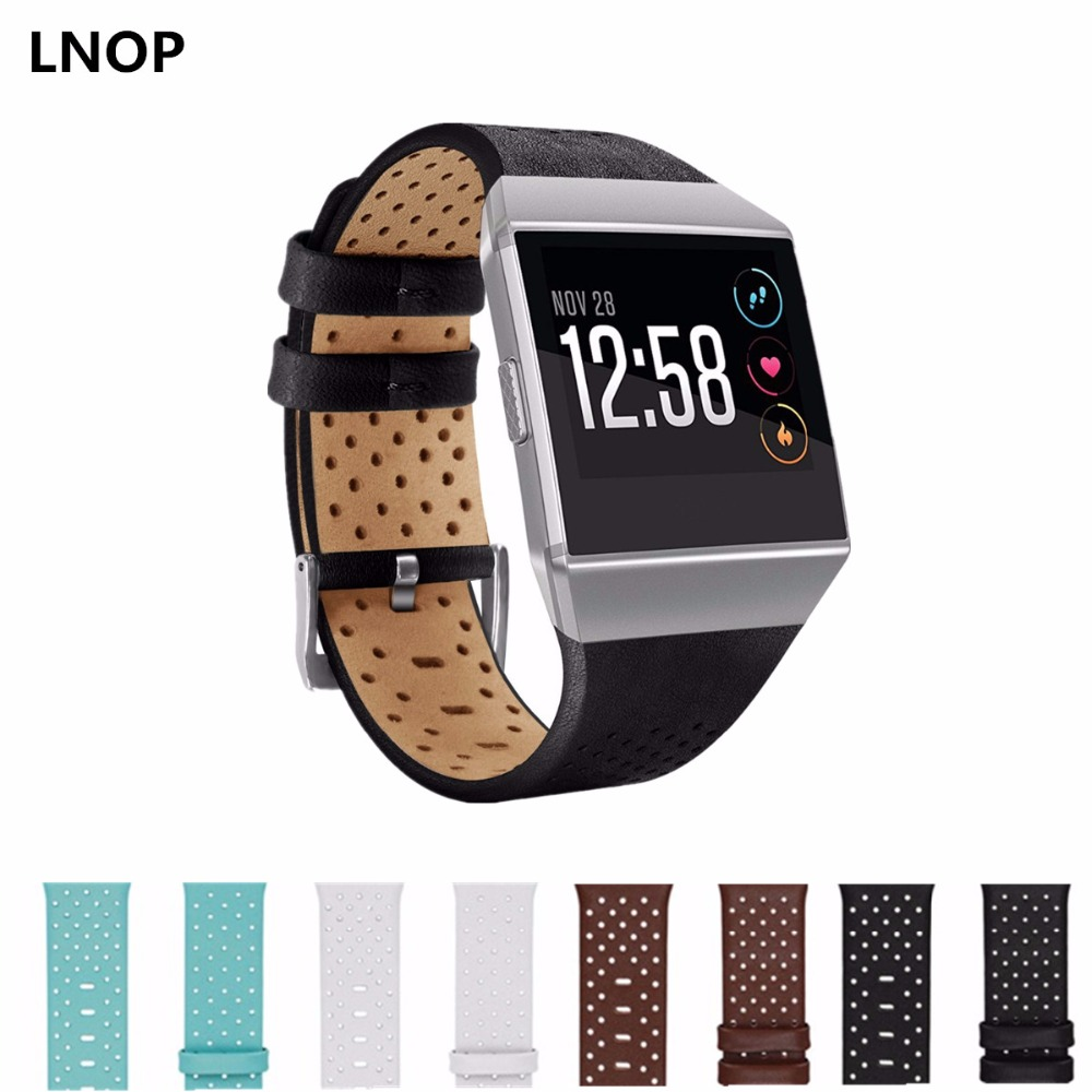 LNOP Leather strap band for fitbit ionic watch wrist Bracelet Replacement wristband Breathable smartwatch Watchband
