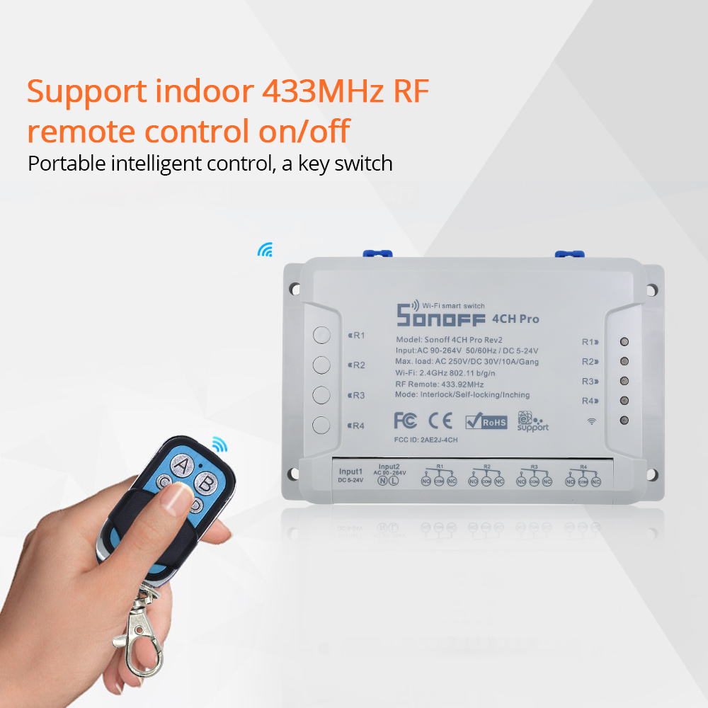 SONOFF 4CH Pro R2 433Mhz RF Wireless Remote Control 4 Way Channel Gang Wifi Relay Inching Interlock Smart Switch Home Automation
