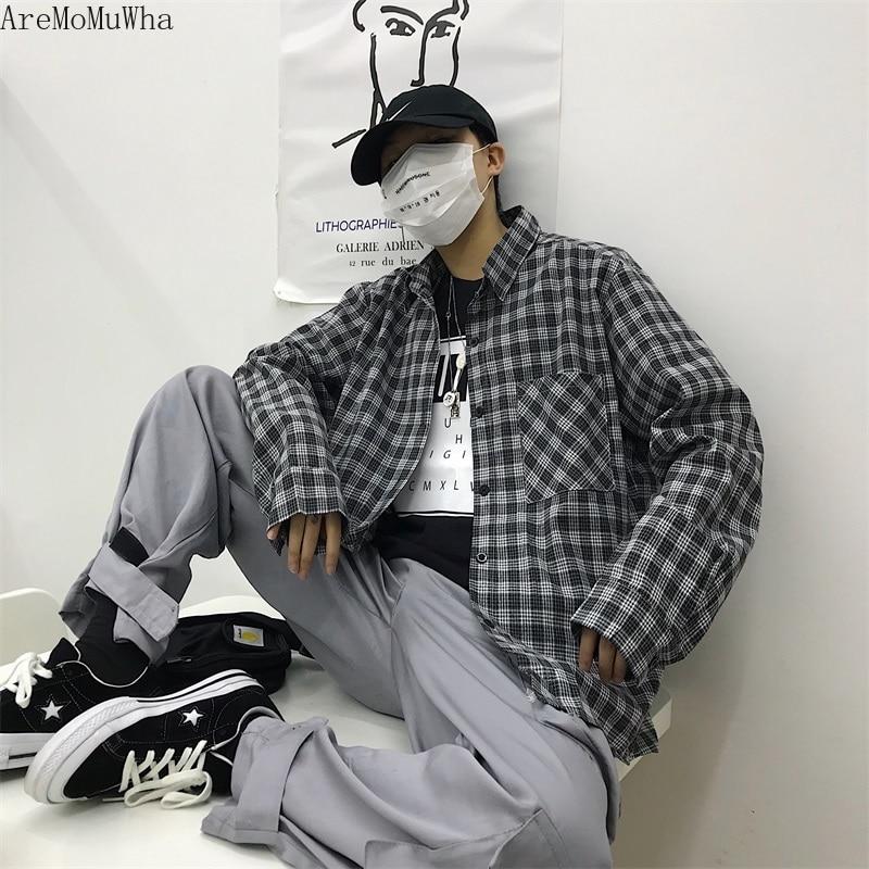 AreMoMuWha 2019 Nouvelle-Coréen Femmes sac kelly décontracté Vent Lâche Harajuku Style Japonais Rétro chemises à carreaux Hommes Robe QX863