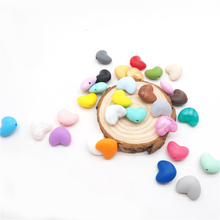 Chenkai 50PCS Silicone Heart teething Beads Sooth Safety Infant Pacifier BPA Free For DIY Baby Teether Pendant Necklace