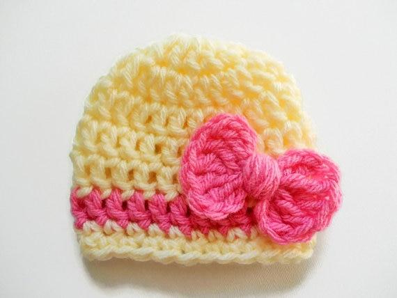 Újszülött lány sapka - Baby Girl Beanie - Bow Pink Hat - Baby - Bébi ruházat - Fénykép 3