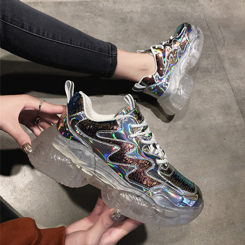 0c2ea9f44b2 Brand Spring Trend Women Transparent Sneakers Harajuku Ladies Platform  Jelly Shoes Laser Casual Shoes Shining Running Footwear