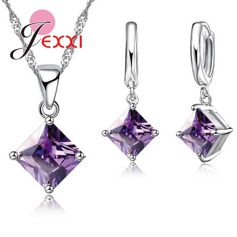 Women Accessories Pendant Necklace Earrings  Jewelry Set Girl Square Shinny CZ Crystal  Pendant 925 Sterling Silver Color