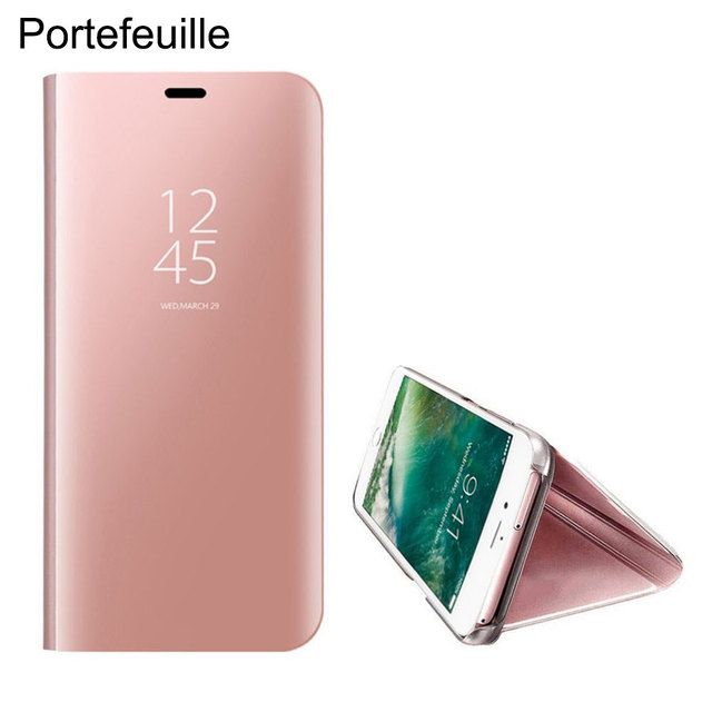 new styles 4daa0 3f707 US $9.78 |Portefeuille For iPhone 7 Plus Mirror Case Smart Clear View  Standing Case PC Flip Cover For iPhone X 8 6 6S iPhone7 Accessories on ...