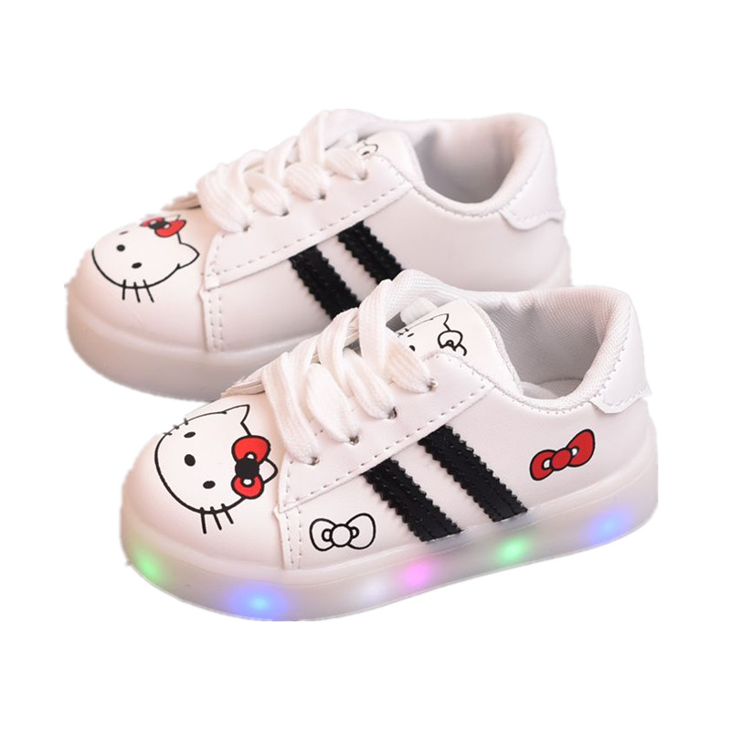 Led Shoes Kids Hello Kitty Light Up Shoes 2018 Spring Fashion Children Boy Girl Casual Shoes Boys LED Luminous Sneakers Girls