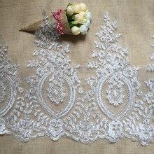 6 yardas Vintage borde de encaje bordado cinta de ajuste boda aplique coche plateado hueso DIY artesanía para manualidades costura decoración de la boda