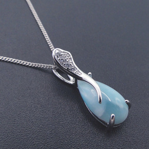 Image 3 - Larimar tự nhiên 100% 925 Sterling Silver Mặt Dây Chuyền Bạc Water Drop Shape Chính Hãng Dây Chuyền Đá Quyến Rũ cho Phụ Nữ Món Quà mà không cần Dây Chuyền