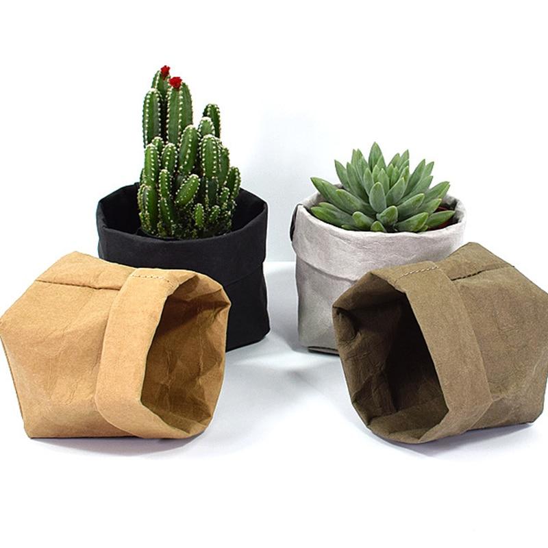 Mini Succulents Planter Pot Washable Kraft Paper Flowerpot Creative Desktop Flower Pots Reuseable Multifunction Home Storage Bag