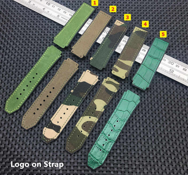 Army green 25*19mm real leather Nature rubber silicone strap watchband watch band strap for Hublot for Big bang for Fusion Logo