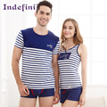 summer cotton lovers sleepwear female stripe cotton male short-sleeve Casual vest  2016 Free Delivery