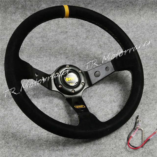350mm Universal Car Auto Racing Suede Leather& Aluminum Frame Steering Wheel BLK