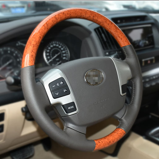Luhuezu New Aluminum Alloy Steering Wheel With Wooden For Toyota Land Cruiser 200 Accessories 2008 2015