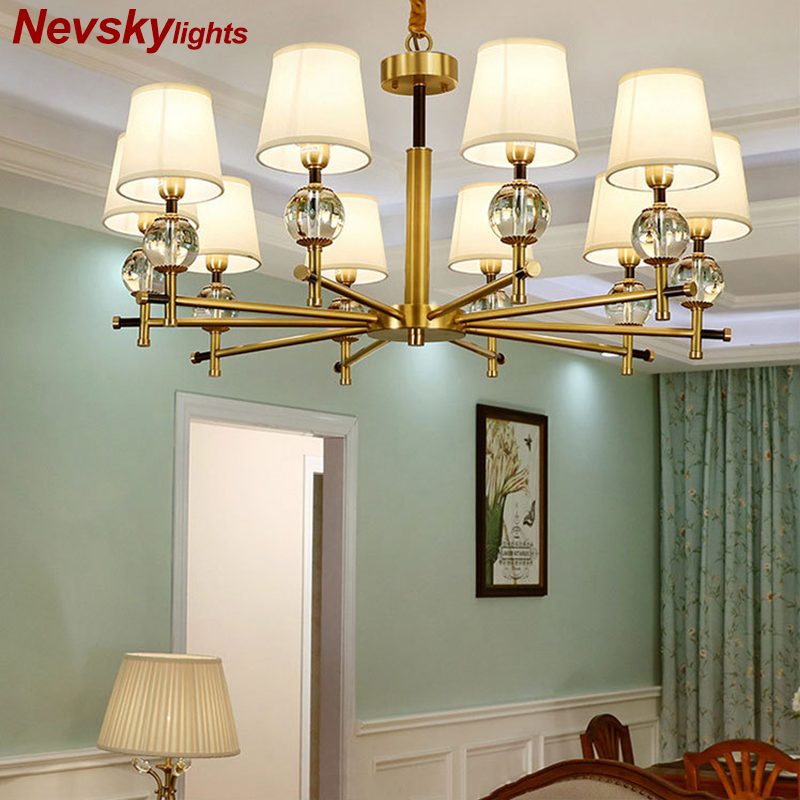 Chandelier Lighting Crystal ball Hanging Lamp for living room copper lustre for dining room Fabric lampshade