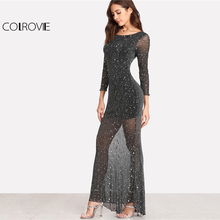 COLROVIE Dress Scoop Neck Backless Long Sleeve Mesh Dress