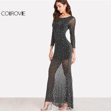 123e49a419e COLROVIE 2018 partido negro Scoop cuello Backless manga larga vestido Maxi  mujeres lechuga Edge espalda abierta Sparkle vestido .