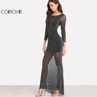 COLROVIE 2018 Party Dress Black Scoop Neck Backless Long Sleeve Maxi Dress Women Lettuce Edge Open