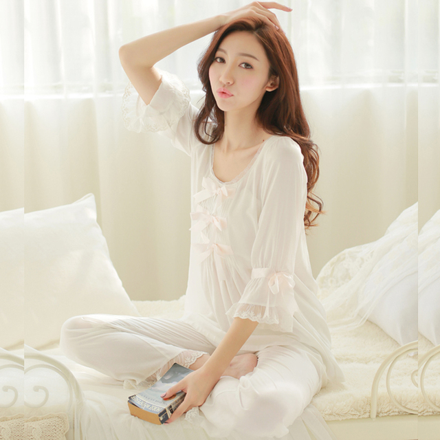 yomrzl spring autumn women's royal princess comfortable home clothing bow lace lounge sleepwear lingerie pijama pajama set M035