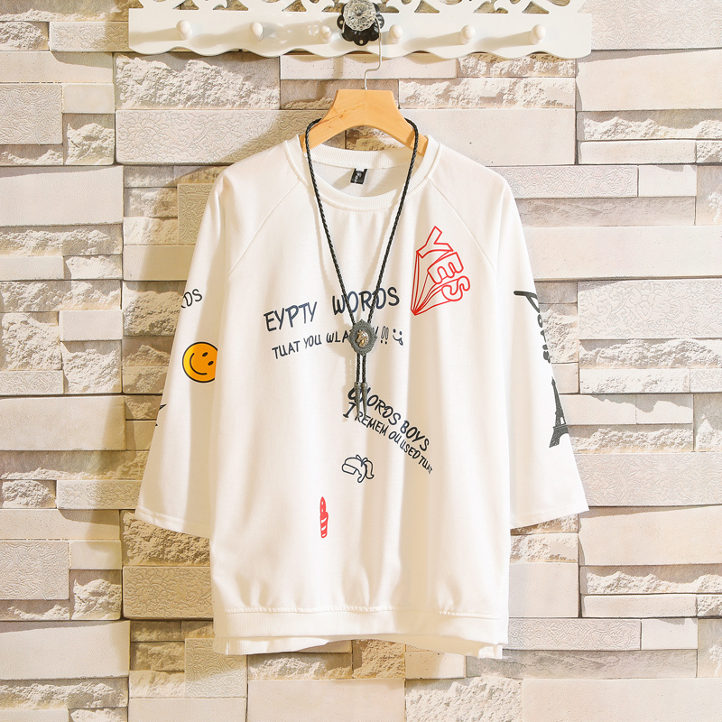 2019 Summer New Seven Part Sleeve T Shirt Harajuku Tops Stranger Things Personality City Boy Trend Exquisite White Free Shipping