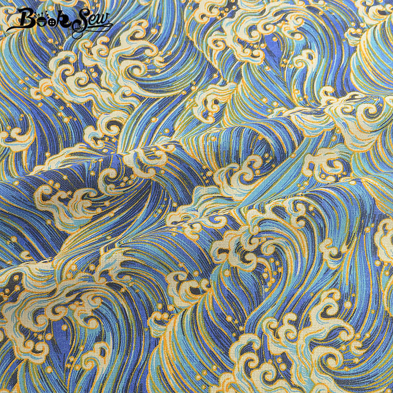 Booksew Navy Katoen Linnen Afrikaanse Ankara Stof Golven DIY Tas Gordijn Tela Tecidos De Patchwork Naaien Tissue Materiaal 145 cm