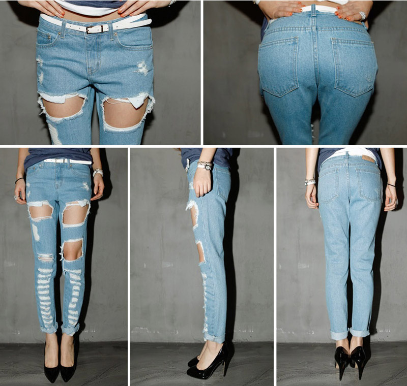Aliexpress.com : Buy 2015 Holes Ripped Jeans Womens Salopette ...