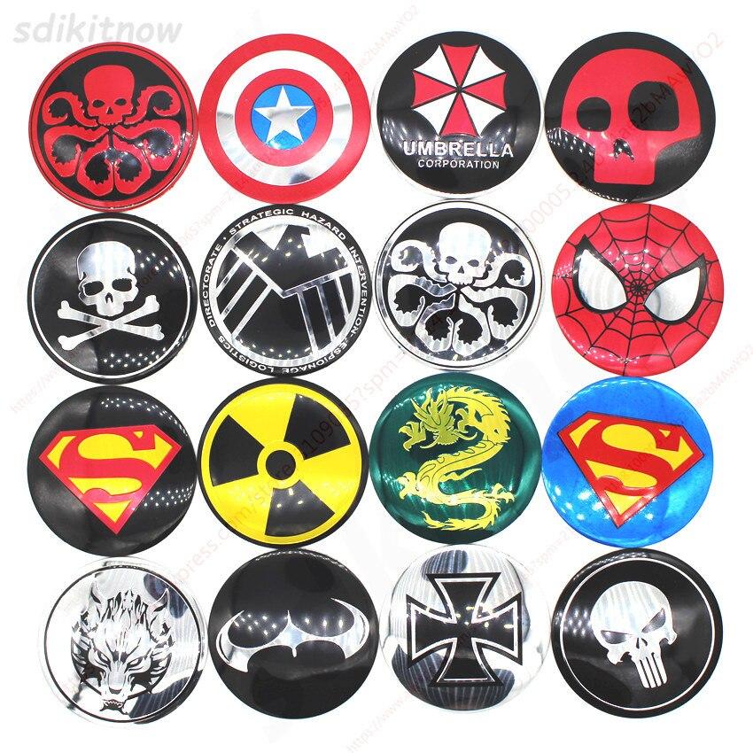 4pcs Funny Skull Hero Car Wheel Center Hub Caps Cover Rim Sticker Emblem Badge Styling For BMW AUDI VW FORD HONDA KIA JEEP OPEL