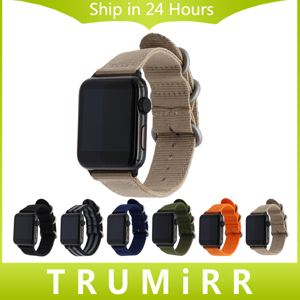 Nylon Watchband + Adapters for iWatch Apple Watch 38mm 42mm Zulu Band Fabric Strap Wrist Belt Bracelet Black Blue Brown Green 24mm nylon watchband for suunto traverse watch band zulu strap fabric wrist belt bracelet black blue brown tool spring bars