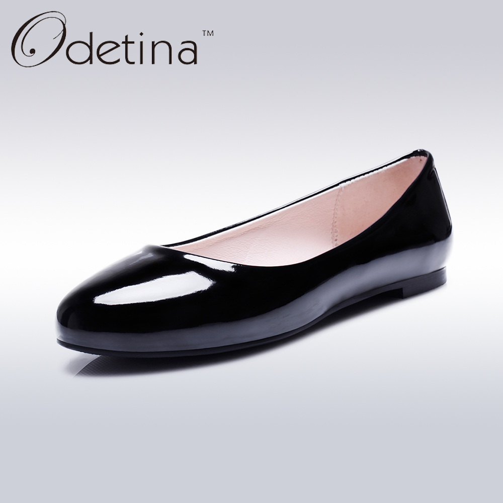 Odetina 2017 Fashion Summer Ladies Ballet Flats Shoes Women Loafers Slip Ons Ballerina Flat Patent Leather Round Toe Big Size 52 odetina 2017 new summer women ankle strap ballet flats buckle hollow out flat shoes pointed toe ladies comfortable casual shoes