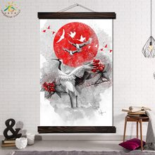 Red-crowned Crane Red Art Modern Wall Art Print Picture And Poster Frame Hanging Scroll Canvas Painting Canvas Poster Home Decor(China)