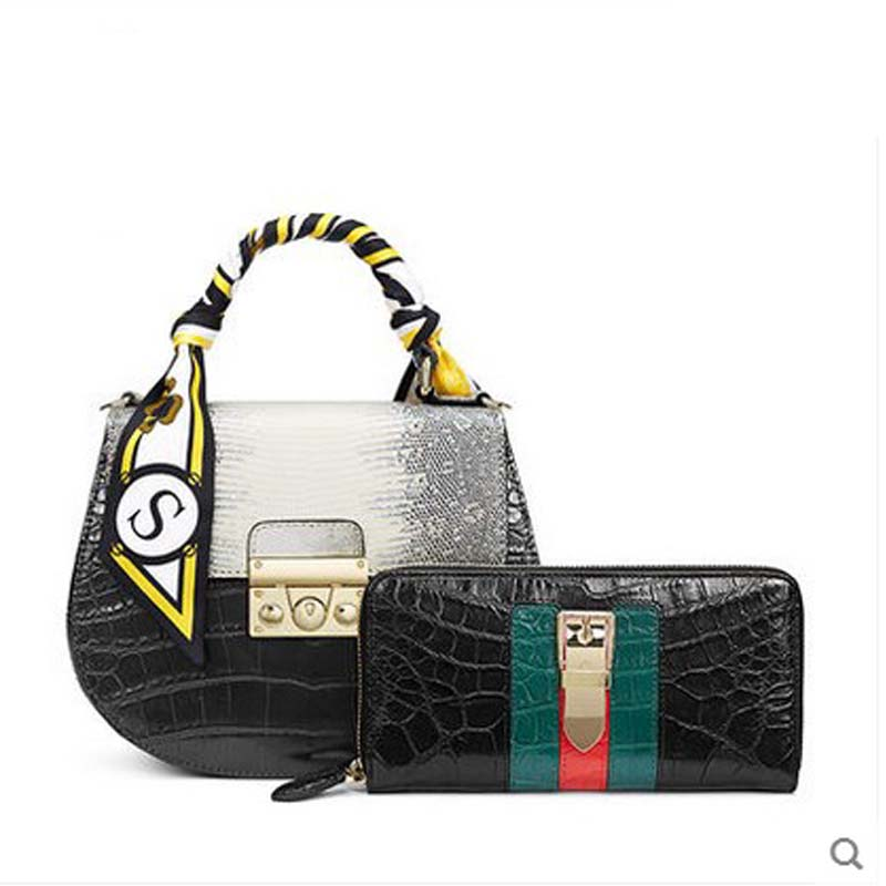 2018 gete  New crocodile bag women handbag leather Thai crocodile and lizard leather saddle women circular bag Female nematode parasite infesting lizard and their physiological effects