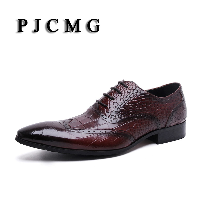 PJCMG New High Quality Genuine Leather Men Lace-Up Crocodile Brogues Lace-Up Bullock Business Oxfords Men Dress Shoes yatour car digital cd music changer usb mp3 aux adapter for iso 8 pin vw audi skoda seat yt m06
