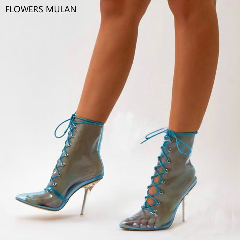 2018 New Summer PVC Blue Nude Ankle Boots Gladiator Sandals Women Stileto High heels Pointed Toe Lace Up Booties Women Shoes цена