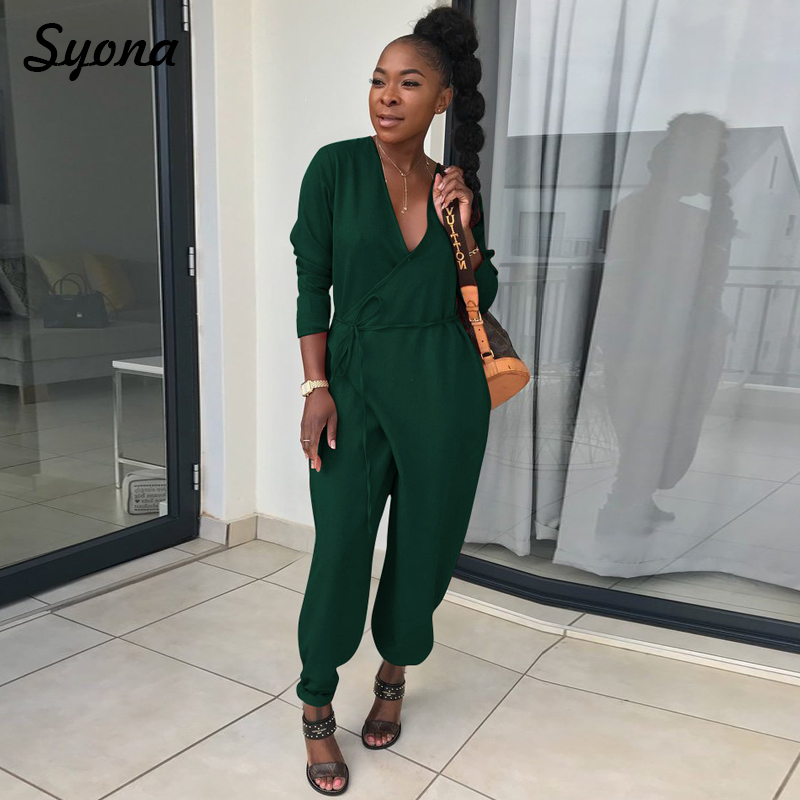 Baggy Front Tie JUMPSUIT Belt Maxi ROMPER Wrap Overalls For Women 2018 Long Sleeve One Piece Pants Casual Loose Trousers V Neck