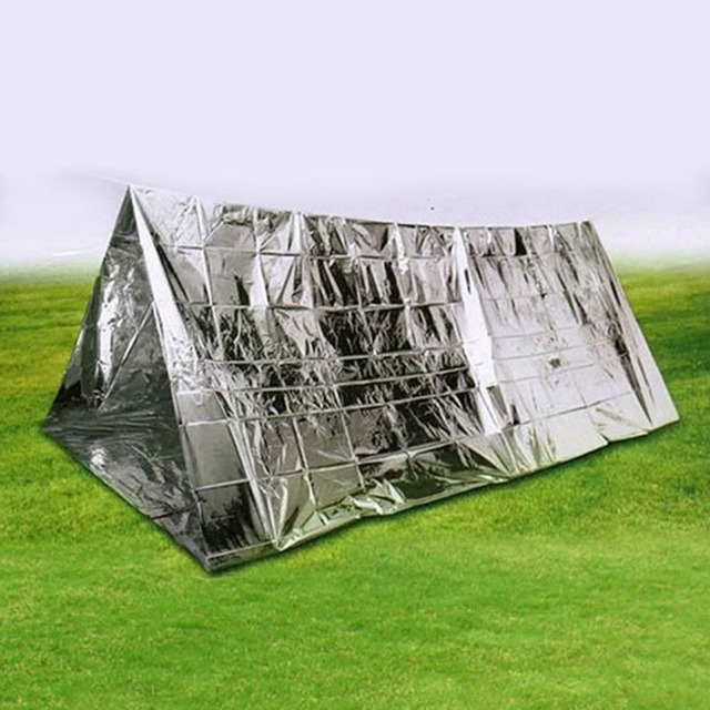 Sliver Portable Survival Kit Emergency Shelter Tent Waterproof Outdoor Rescue Camping Shelter Emergencies Keep Warm For Hiking