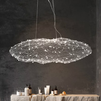 Norbic creative restaurant cloud glowworn LED pendant light fixture modern home deco dinning room iron fish net pendant lamp
