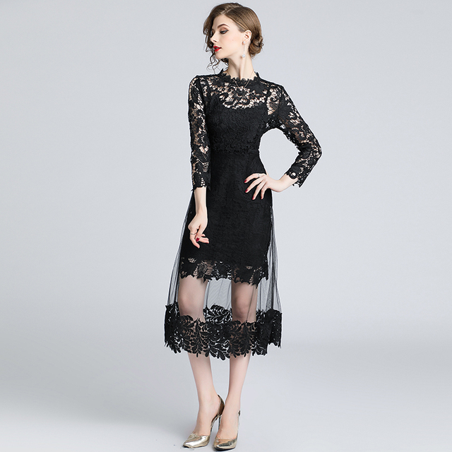 Sweet Flower Embroidery Lace Dress 2019 Autumn Women Mesh Patchwork Dress  Runway Long Sleeve Casual Party becef543829e