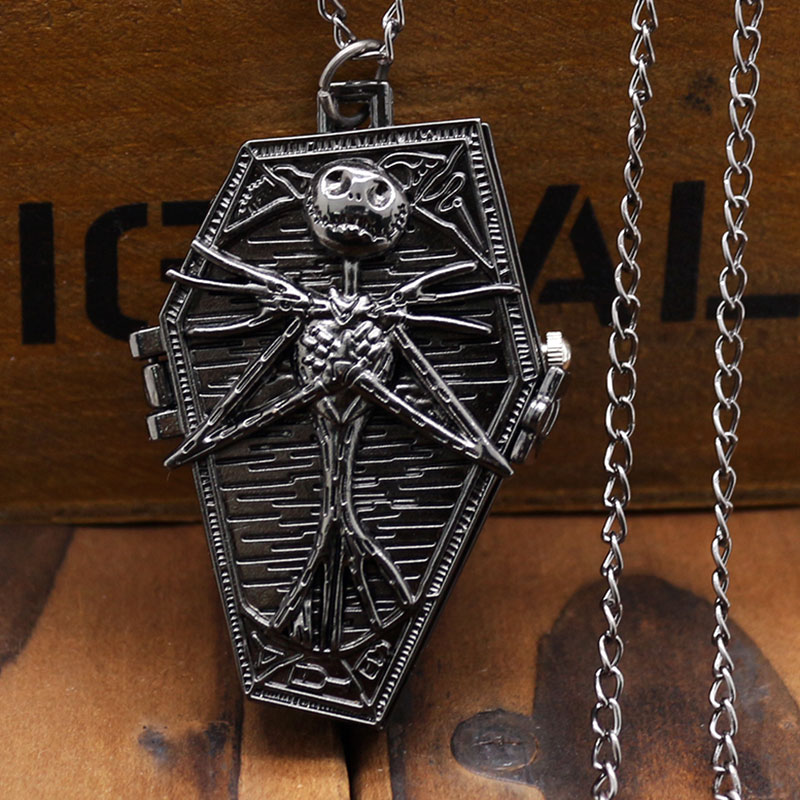 Antique Black Color The Nightmare Before Christmas Coffin Design Fob Pocket Watch With Necklace Chain For Gift