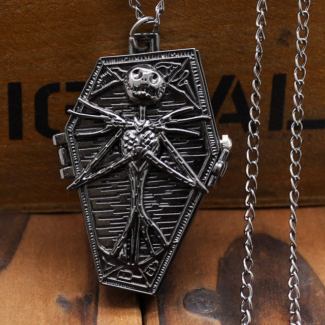 The Nightmare Before Christmas Coffin Design Antique Black Color Pocket Watch With Necklace